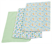 Honey Bunny Printed Flannel Receiving Blankets Set of 3 Green