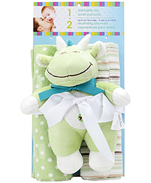Honey Bunny Cotton Flannel Receiving Blankets with SoftToy