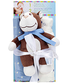 Honey Bunny Cotton Flannel Receiving Blankets with Monkey SoftToy