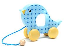 Honey Bunny Wood Toy With Microfleece Blanket - Blue