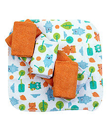 Honey Baby Printed Washcloths Pack of 8 Orange