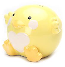 Honey Bunny Duck Design Coin Bank Yellow
