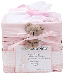 Piccolo Bambino Washcloth in Basket Pack of 12 Pink