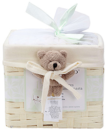 Piccolo Bambino Washcloth in Basket Pack of 12 Cream