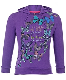 Quarter Spoon Full Sleeves Hooded Sweatshirt - Butterfly Print