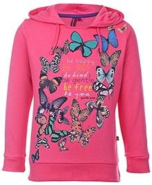 Quarter Spoon Pink Full Sleeves Hooded Sweatshirt - Butterfly Print