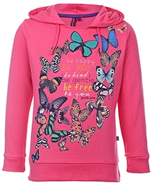 Quarter Spoon Pink Full Sleeves Hooded Sweatshirt - Butterfly Print