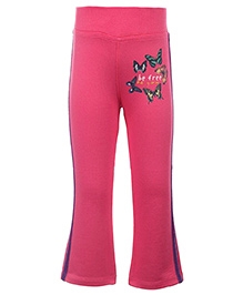Quarter Spoon Full Length Pink Track Pant - Butterfly Print