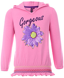Quarter Spoon Full Sleeves Hooded Sweatshirt - Smock Style At The Hem