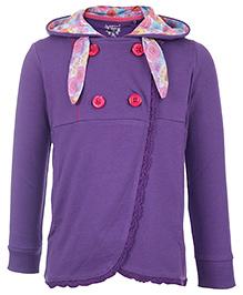 Quarter Spoon Purple Full Sleeves Double Breasted Jacket - Rose Print Hood