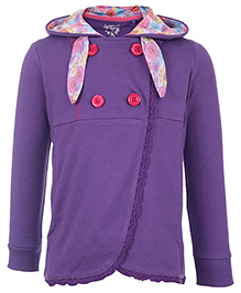 Quarter Spoon Purple Full Sleeves Double Breasted Jacket - Rose Print Hood