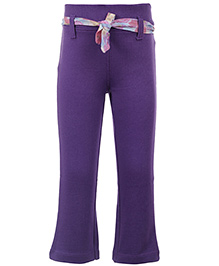 Quarter Spoon Purple Full Length Trouser - Printed Fabric Belt
