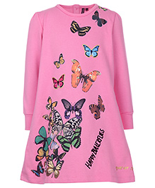 Quarter Spoon Pink Full Sleeves Frock - Butterfly Print