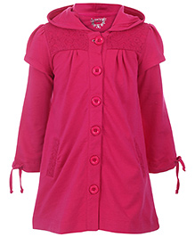 Quarter Spoon Dark Pink Double Sleeves Plain Hooded Frock - Front Button Open