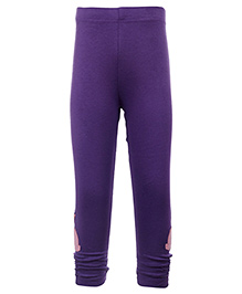 Quarter Spoon Purple Ruched Bottom Legging - Bunny Applique