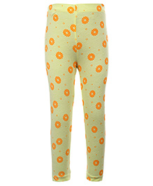 Quarter Spoon Yellow Full Length Legging - Flower Print - Size 21 - 42 Cm