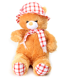 Tickles Teddy Bear With Cap And Muffler - Brown