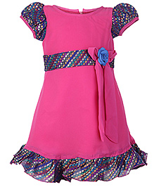 Softouch Puff Sleeves Pink Party Frock - Flower Embellishment