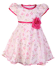 Softouch Puff Sleeves Pink Party Frock With Rose Embellishment