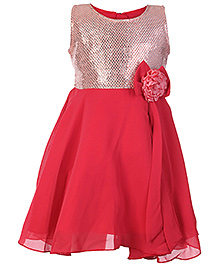 Softouch Red Sleeveless Party Frock With Sequins Work