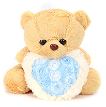 Tickles Teddy Bear With Blue Heart - Brown