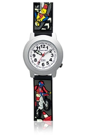Jacques Farel Kids Motorbikes 3D Strap Wristwatch Black