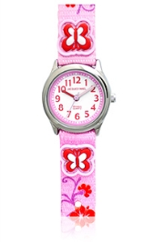 Jacques Farel Kids Butterfly 3D Strap Wristwatch Pink