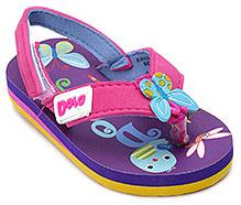 Dora Purple Butterfly Applique Flip Flop - Velcro Back Strap