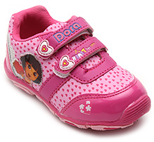 Dora Pink Hearts Print Sports Shoes - Dual Velcro Strap