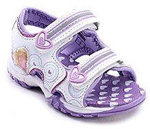 Barbie Purple Dual Velcro Sandal - Heart Print - UK 8/Euro 26
