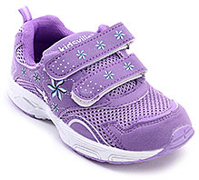 Kids Ville Purple Flower Print Sports Shoes - Dual Velcro Strap
