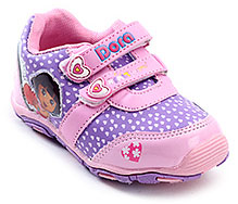 Dora Purple Hearts Print Sports Shoes - Dual Velcro Strap