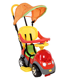 Fab N Funky Car Shaped Manual Push Ride On - Red