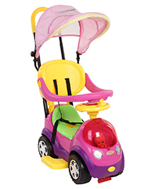 Fab N Funky Car Shaped Manual Push Ride On - Pink