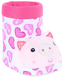 Fab N Funky White Boot Shape Pig Applique Pencil Stand 11.5 x 6.5 x 10 cm, Colorful pencil stand for your kids study table