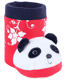 Fab N Funky Red Boot Shape Panda Applique Pencil Stand 11.5 x 6.5 x 10 cm, Colorful pencil stand for your kids study table
