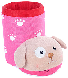 Fab N Funky Pink Boot Shape Dog Applique Pencil Stand 11.5 x 6.5 x 10 cm, Colorful pencil stand for your kids study table