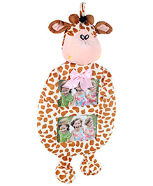 Fab N Funky Standing Giraffe Shape Dual Photo Frame - Cream
