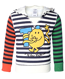 Mr Men And Little Miss Full Sleeves Tri Colour Stripes Print Hooded Sweat Shirt
