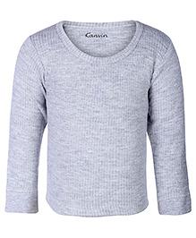 Kanvin Grey Full Sleeves Self Stripe Design Thermal Vest