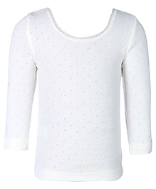 Kanvin White Full Sleeves Pointelle Design Thermal Vest