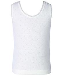 Kanvin White Sleeveless Pointelle Design Thermal Vest