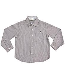 Gron Full Sleeves Striped Shirt - Grey