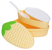 Fab N Funky Lunch Box With Spoon - Maize Pattern - 19 x 9.5 x 8 cm