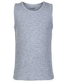 Kanvin Grey Sleeveless Self Stripe Design Thermal Vest