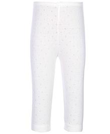 Kanvin White Full Length Thermal Legging - Pointelle Design