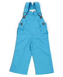 Little Heart Sky Blue Plain Dungaree - Front Pocket