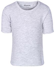 Kanvin Grey Half Sleeves Thermal Vest - Self Stripe Design
