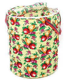 Fab N Funky Yellow Storage Box With Handle - Fruits Print