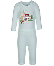 Cucumber Full Sleeves School Print T Shirt and Legging Set